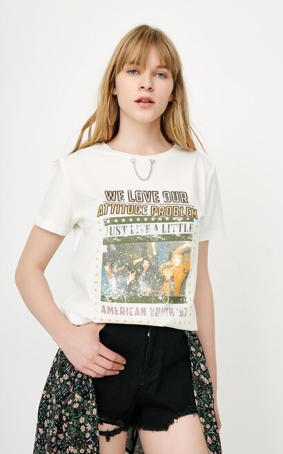 ONLY Women's Spring & Summer 100% Cotton Chain Print Loose Fit T-shirt |118101608, White, large