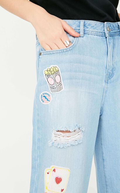 ONLY Summer New Women's Frayed Raw-edge Jeans|117249504, Blue, large