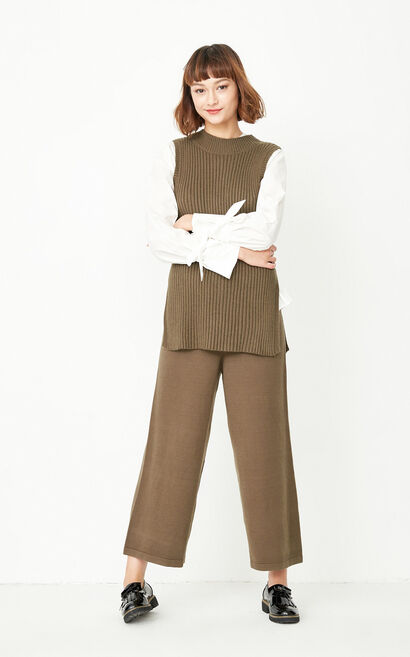 ONLY autumn new knitted wide-leg loose three-piece suit female | 117346501, Green, large