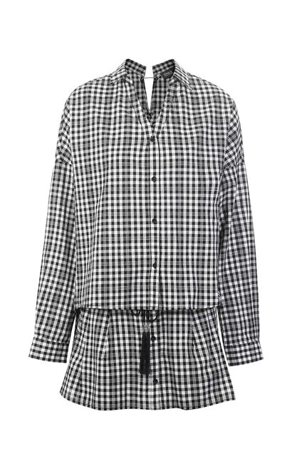 ONLY2019 women's summer new plaid V-neck slit two-piece shorts | 118178506, Black, large