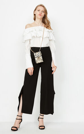 ONLY 2019 Women's Striped Slits Wide-leg Casual Pants |118114513
