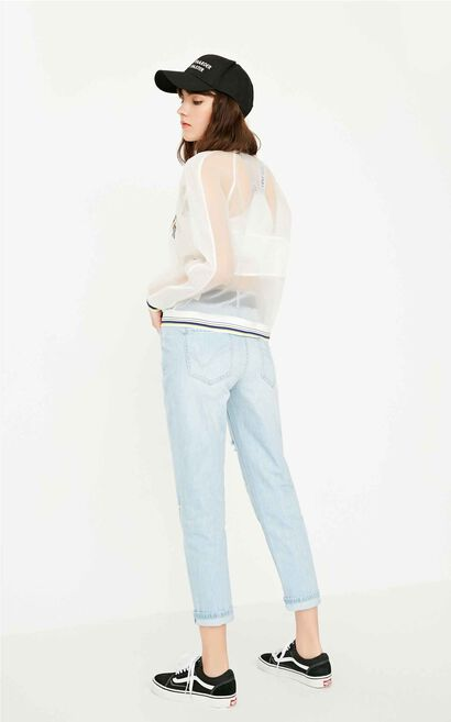 ONLY Women's Summer Frayed Low-rise BF Style Crop Jeans |117249531, Light blue, large