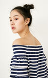 ONLY spring New Women's Boat Neck Off-the-shoulder Ruffled Sleeves Knit|117230519, Blue, large